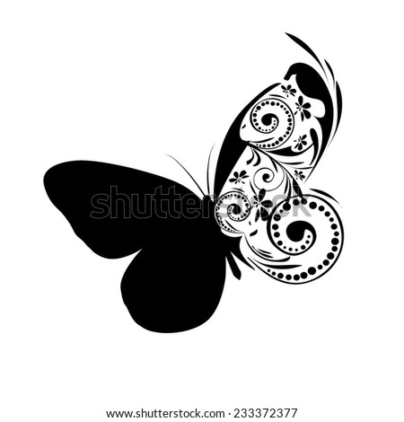 Monochrome butterfly with patterns. Vector - stock vector
