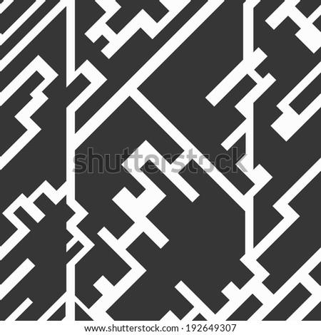 monochrome circuit seamless texture - stock vector