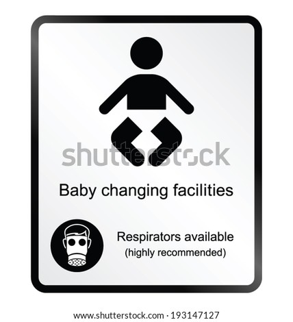 Monochrome comical baby changing facilities public information sign isolated on white background - stock vector