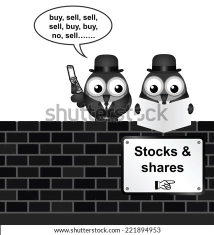 Monochrome comical stocks and shares sign on brick wall isolated on white background - stock vector