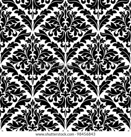 Monochrome damask seamless pattern for background design. Jpeg version also available in gallery - stock vector