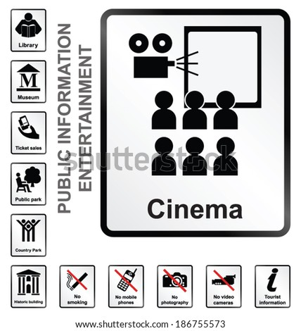 Monochrome entertainment related public information signs isolated on white background - stock vector
