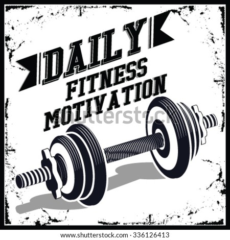 """monochrome fitness bodybuilding hipster vintage label , badge """" daily fitness motivation """" for flayer poster logo or t-shirt print with arm hand and dumbbell - stock vector"""