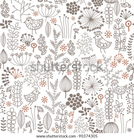 monochrome floral background with little birds - stock vector