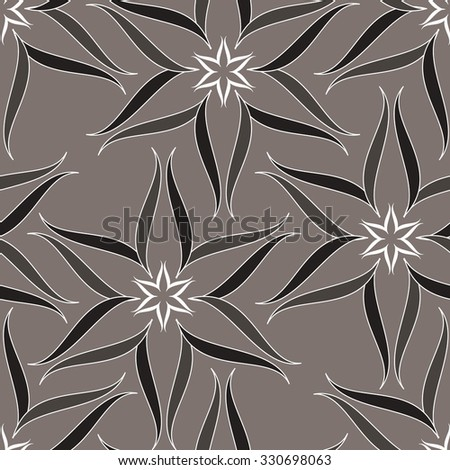 Monochrome floral pattern, line, seamless vector background. - stock vector