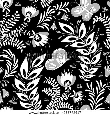 Monochrome floral seamless pattern with butterfly - stock vector