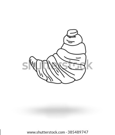 Monochrome freehand drawing sweets bakery cafe doodles, croissant, vector  - stock vector