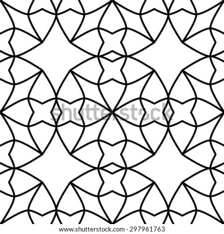 Monochrome geometric seamless pattern. - stock vector