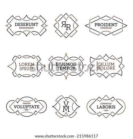 monochrome geometric vintage label  - stock vector