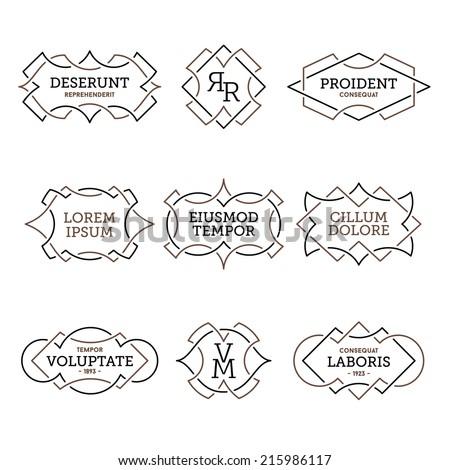 monochrome geometric vintage label  - stock vector