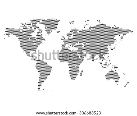 Monochrome halftone world map, vector illustration - stock vector