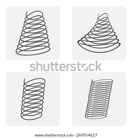 monochrome icon set with spring, shock absorber - stock vector