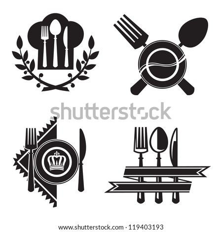 monochrome icons with dish, knife and fork - stock vector