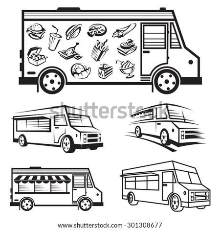 monochrome illustration of five food trucks  - stock vector