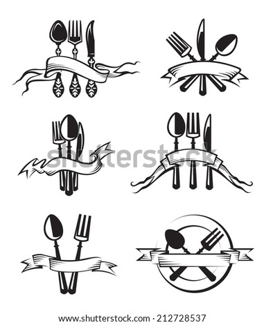 monochrome illustrations set of knife, fork and spoon - stock vector