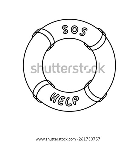 Monochrome lifebuoy in line style with inscription sos and help with place of your text - stock vector
