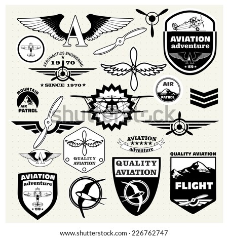 Monochrome Mega Set of retro emblems, design elements , badges and logo patches on the theme aviation - stock vector