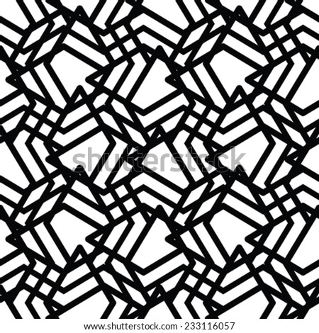 Monochrome messy seamless pattern with parallel lines, black and white infinite geometric mosaic textile, abstract vector textured web visual covering.  - stock vector