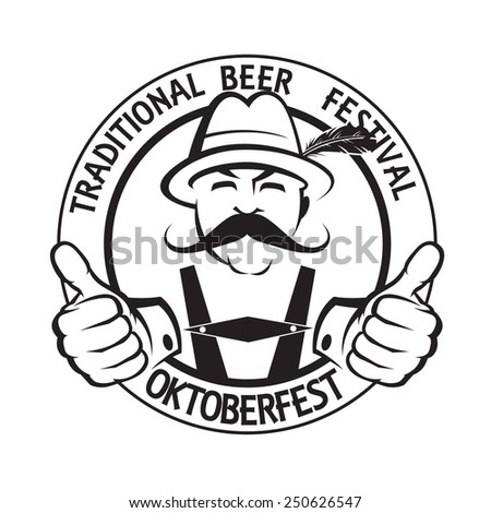monochrome oktoberfest label with mustached man - stock vector
