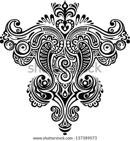 Monochrome ornament. Symmetrical monochrome floral ornament with elements. - stock vector