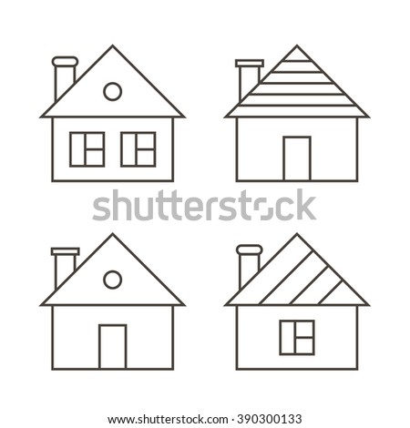Monochrome outline houses set isolated on white background.  - stock vector