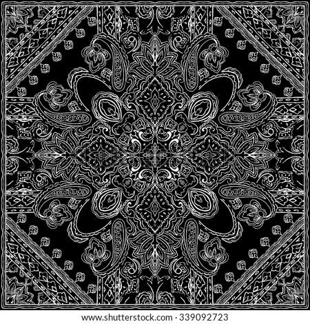 Monochrome Paisley pattern. Ethnic background for textile, wrapping - stock vector