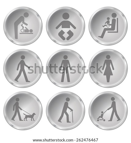 Monochrome people related icon set isolated on white background - stock vector