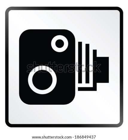 Monochrome road speed camera sign isolated on white background - stock vector