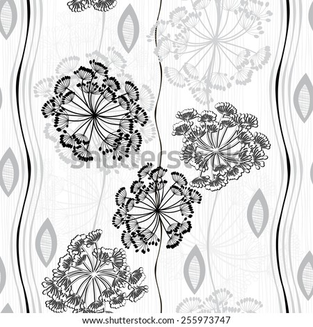 Monochrome seamless pattern of abstract flowers. Hand-drawn floral background. - stock vector