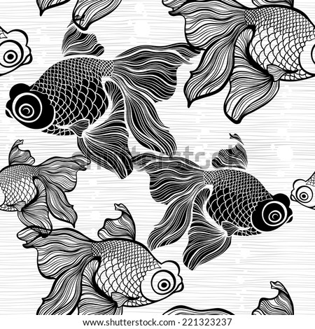 Monochrome seamless pattern with fish. Black and white vector illustration. - stock vector
