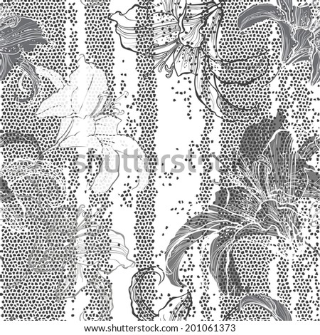 Monochrome seamless pattern with lilies. Hand-drawn floral background. - stock vector