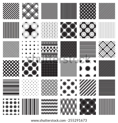 Monochrome set of geometric patterns. Only black and white colors. 36 samples. Vector background. - stock vector