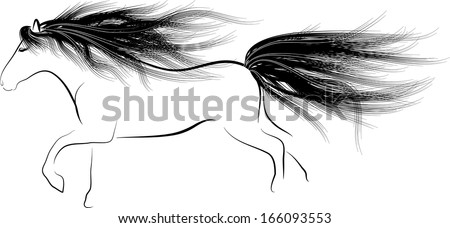 Monochrome silhouette Horse running with flowing mane - stock vector