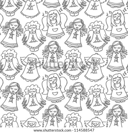 monochrome singing angels on white background seamless pattern - stock vector