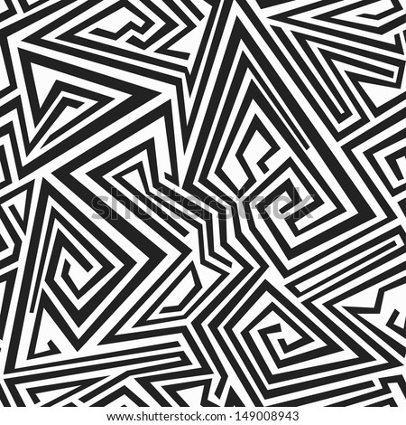 monochrome spiral lines seamless pattern - stock vector