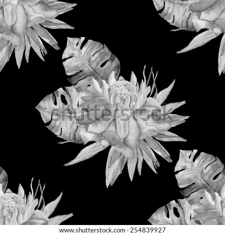 Monochrome vector seamless pattern with tropical flowers and leaves. - stock vector