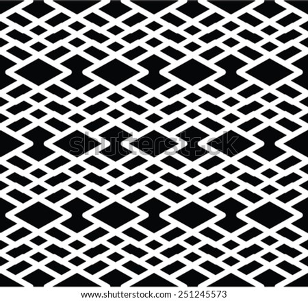 Monochrome visual abstract textured geometric seamless pattern. Symmetric black and white vector textile backdrop. Intertwine composition. - stock vector