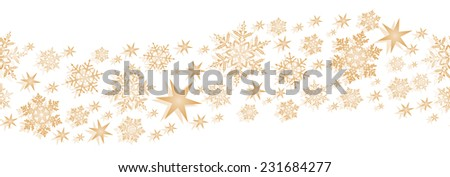 Monochrome wavy border element with stars and snowflakes to decorate your winter or Christmas design. Will tile seamlessly. - stock vector