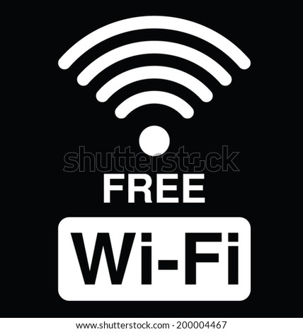 Monochrome WiFi text symbol isolated on black background - stock vector