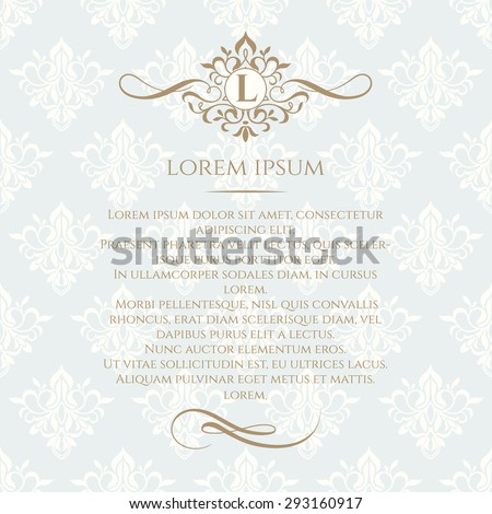 Monogram, border and classic seamless pattern. Template for greeting cards, invitations, menus, labels. Graphic design page. Wedding invitation.Classic design elements. - stock vector