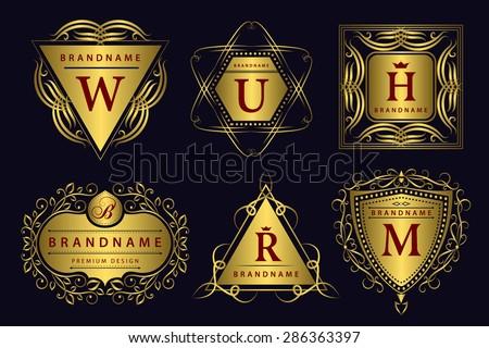 Monogram design elements, graceful template. Calligraphic elegant line art logo design.  Gold emblem. Business sign for Royalty, Boutique, Cafe, Hotel, Heraldic, Jewelry, Wine. Vector illustration - stock vector
