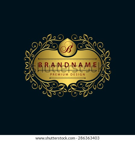 Monogram design elements, graceful template. Calligraphic elegant line art logo design. Gold emblem, B. Business sign for Royalty, Boutique, Cafe, Hotel, Heraldic, Jewelry, Wine. Vector illustration - stock vector