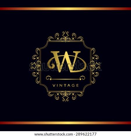 Monogram design elements, graceful template. Calligraphic elegant line art logo design. Letter emblem W. Business sign for Royalty, Boutique, Cafe, Hotel, Heraldic, Jewelry, Wine. Vector illustration - stock vector