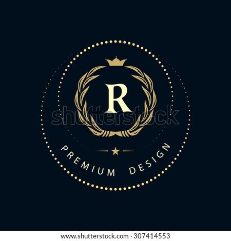 Monogram design elements, graceful template. Calligraphic elegant line art logo design. Letter sign emblem R for Royalty, business card, Boutique, Hotel, Restaurant, Cafe, Jewelry. Vector illustration - stock vector