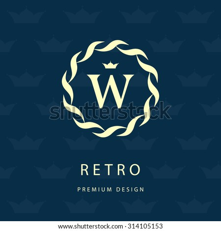 Monogram design elements, graceful template. Elegant line art logo design. Letter emblem W. Retro Vintage Insignia or Logotype. Business sign, identity, label, badge, Cafe, Hotel. Vector illustration - stock vector