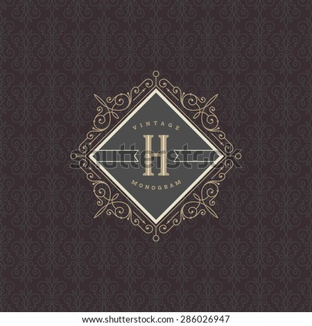 Monogram logo template with flourishes calligraphic elegant ornament elements. Identity design for restaurant, boutique, hotel, store, cafe, shop, heraldic, fashion and etc. - stock vector