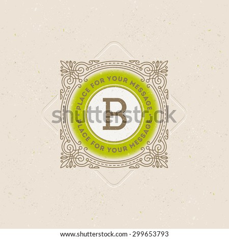 Monogram logo template with flourishes calligraphic elegant ornament elements. Identity design with letter for cafe, shop, store, restaurant, boutique, hotel, heraldic, fashion and etc. - stock vector