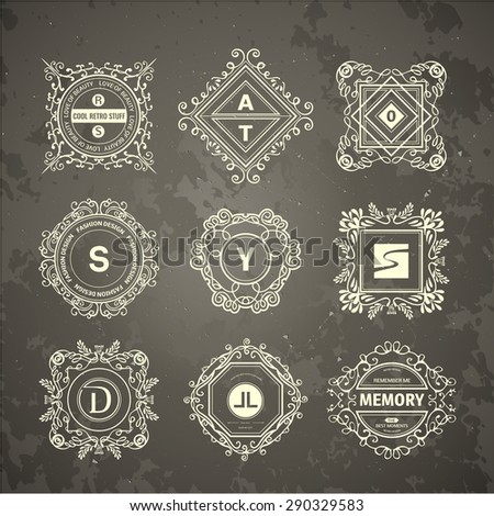 Monogram  luxury logo template with flourishes calligraphic elegant ornament elements. Luxury elegant design for cafe, restaurant, boutique, hotel, shop, store, heraldic, jewelry, fashion - stock vector