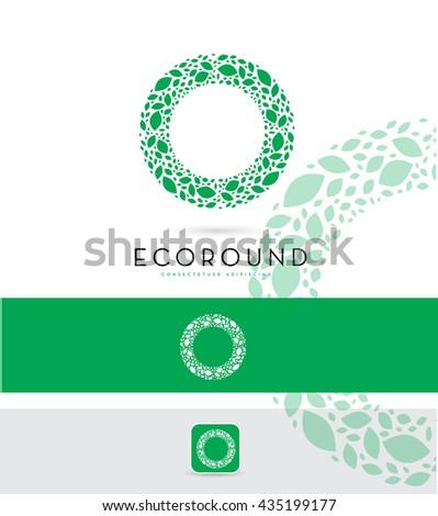 MONOGRAM O  DESIGNED WITH LEAFS ,  VECTOR LOGO / ICON  - stock vector