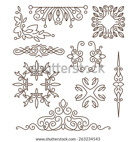 Monograms,line design elements for logos, frames and borders in modern style vector set - stock vector